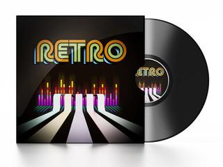 Vintage vinyl record isolated on white background. 3D illustration
