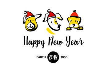 Sketch vector illustration. Happy new year of earth dog. Template.