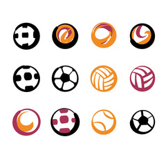 Set of image soccer and football ball for sport hobby, challenge