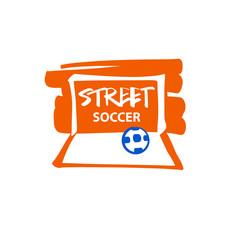 Template logo for street soccer. Ball in gate. Football goal. Ve