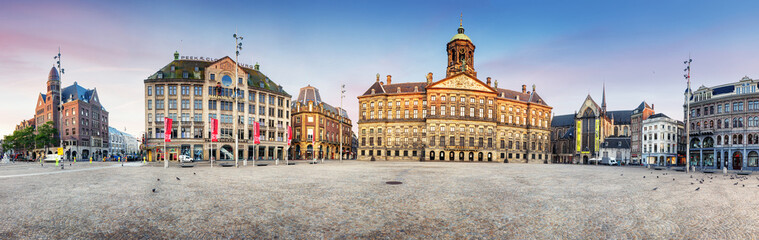 Fotobehang Amsterdam Royal Palace on the dam square in Amsterdam, Netherlands, panorama.