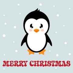 cartoon penguin with text