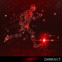 Hacker activity banner. Technological space with an evader. Red, warning background