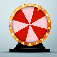 Lottery online casino fortune wheel in golden circle with red and white stripes
