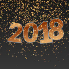 Happy new Year golden glittering abstract template