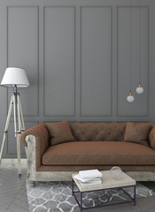 mock up grey interior background with sofa, table and carpet, classic style, 3D render