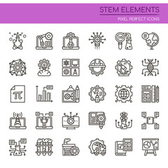 STEM Elements , Thin Line and Pixel Perfect Icons.