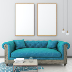mock up poster frame in light interior background with blue sofa, carpet and table, classic style, 3D render