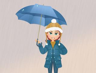 girl with umbrella in the rain