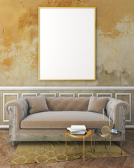 mock up classic interior with yellow plaster wall, white moldings on wall, beige sofa and brown carpet. 3d render