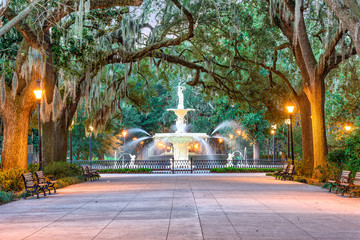 Fototapete - Savannah Georgia Fountain