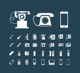 Vector retro phone icon set , vintage white icons on dark