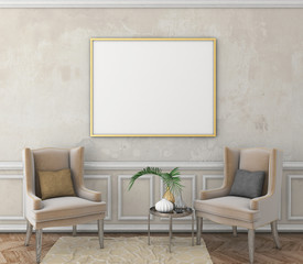 mock up poster frame on old plaster wall with moldings. vintage interior with brown parquet floor and easy chair. 3d render