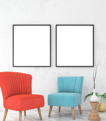 mock up poster frame on white plaster wall. vintage interior with white parquet floor and chairs. 3d render