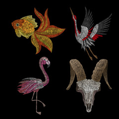 set, a skull of a cow, a flamingo, a goldfish, a crane. Traditional folk stylish stylish floral embroidery on the black background. Sketch for printing on fabric, clothing, bag, accessories, design.