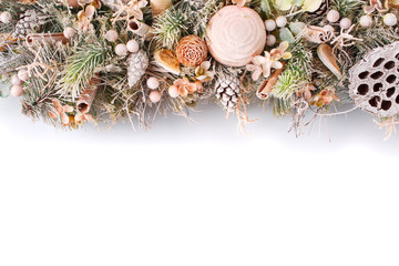 Christmas Composition with decorations for home interior. Copyspace background