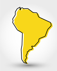 yellow outline map of South America