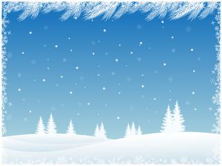 Photo sur Plexiglas Winter landscape with snow and fir trees. Christmas illustration.