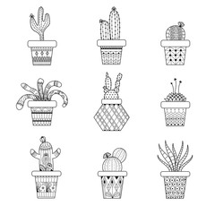 Cactus and succulent zentangle for adult coloring book page.vector illustration.