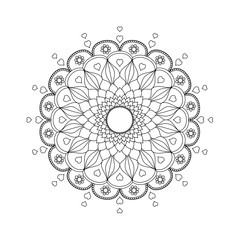 Mandala flower zentangle stylized.vector illustration.Hand drawn.coloring book page.