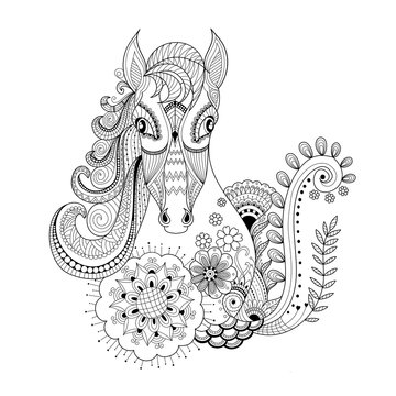 Horse in floral zentangle for adult coloring book page.vector illustration.