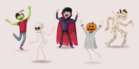 halloween set. dancing. zombie, ghost, skeleton, vampire, pumpkin, monsters, vector