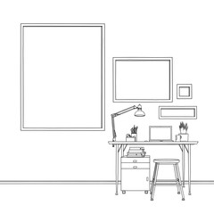 Sketch drawing multiple blank picture frames work station
