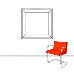 Sketch drawing of blank picture frame armchair