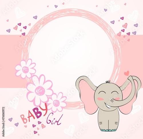 Cute hand drawn frame with cartoon elephant