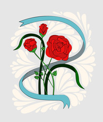 A bouquet of three red roses in a ribbon. Painted in the style of old school or vintage