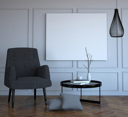 mock up poster in modern stylish interior background, 3D render