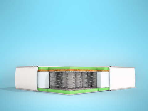 Modern mattress in the front view 3d render on a blue background