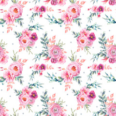 Watercolor seamless pattern with peonies flowers, snowberry, mistletoe and eucalyptus leaves. Hand painted repeating background with floral elements, peony, roses, ranunculus flowers.