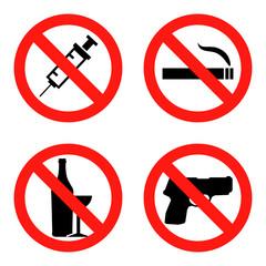 Forbidding Vector Signs No Smoking , No Drugs , No Weapon and No Alcohol Flat design Vector Illustration EPS