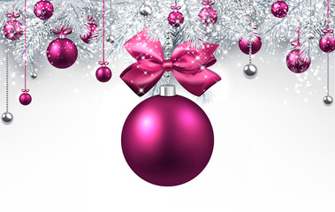 White background with pink Christmas ball.