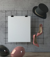 mock up poster as a wedding invitation, on a gray wall with groom hat and bridal shoes. 3d rendering