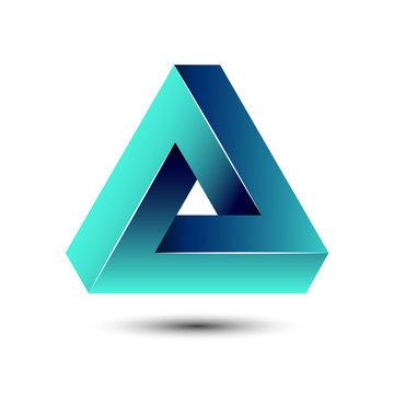 Penrose impossible triangle geometric 3D icon optical illusion vector illustration for logo idea