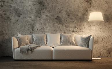 Couch vor Betonwand
