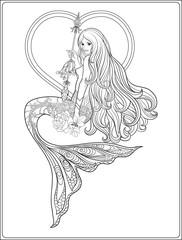 Hand drew mermaid with long hair. Stock line vector illustration