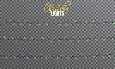 Christmas lights. Realistic string lights design elements of red and green colors. Glowing lights for winter holidays. Shiny garlands for Xmas and New Year