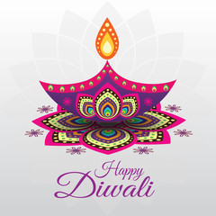 Beautiful greeting card for Hindu community festival Diwali
