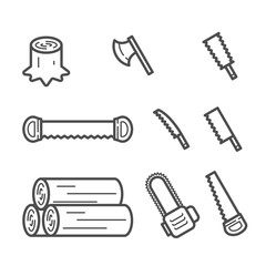 Carpenter equipment tool and stump, timber symbol icon set outline stroke design illustration black and white color isolated on white background, vector eps10