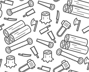 Carpenter equipment tool and stump, timber symbol icon set seamless pattern outline stroke design illustration black and white color isolated on white background, vector eps10