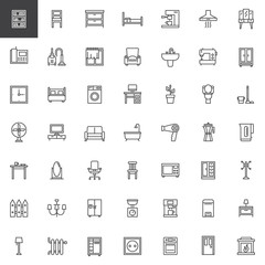 Home interiors furniture line icons set, outline vector symbol collection, linear style pictogram pack. Signs, logo illustration. Set includes icons as bookcase, chair, chest of drawers, armchair, tv