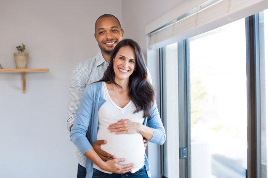 Pregnant couple loving
