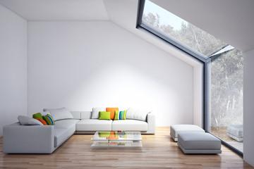 Modern bright living room, white wall. 3D rendering illustration