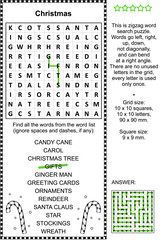 Christmas holiday themed zigzag word search puzzle (suitable both for kids and adults). Answer included.