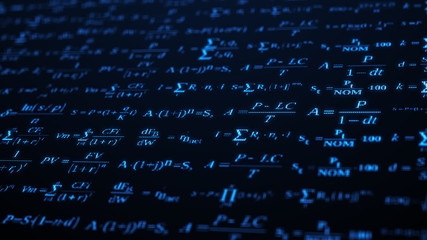 Abstract background. The camera flies past a large number of financial formulas on computer screen. Pixelated design. 3d render. Great for screen insert.