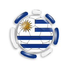 Soccer ball with the national flag of Uruguay. Modern emblem of soccer team. Realistic vector illustration.