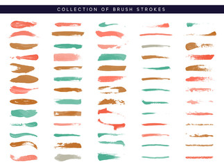 Brush stroke. Paint collection of ink brushes.